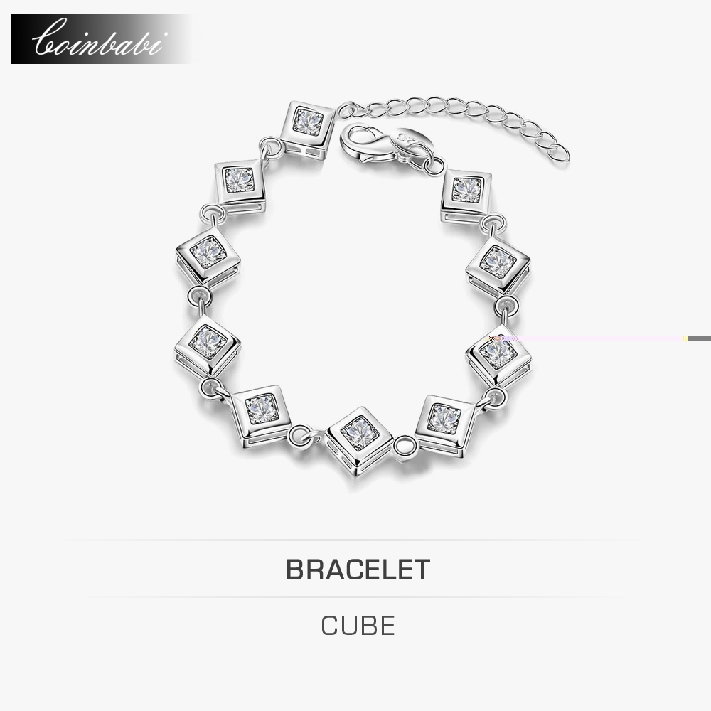 Cube Bracelet,Trendy 925 Sterling Silver & Zirconia Gift Accessories Gift For Lady Girls,Europe And The United States And Fashio(China (Mainland))