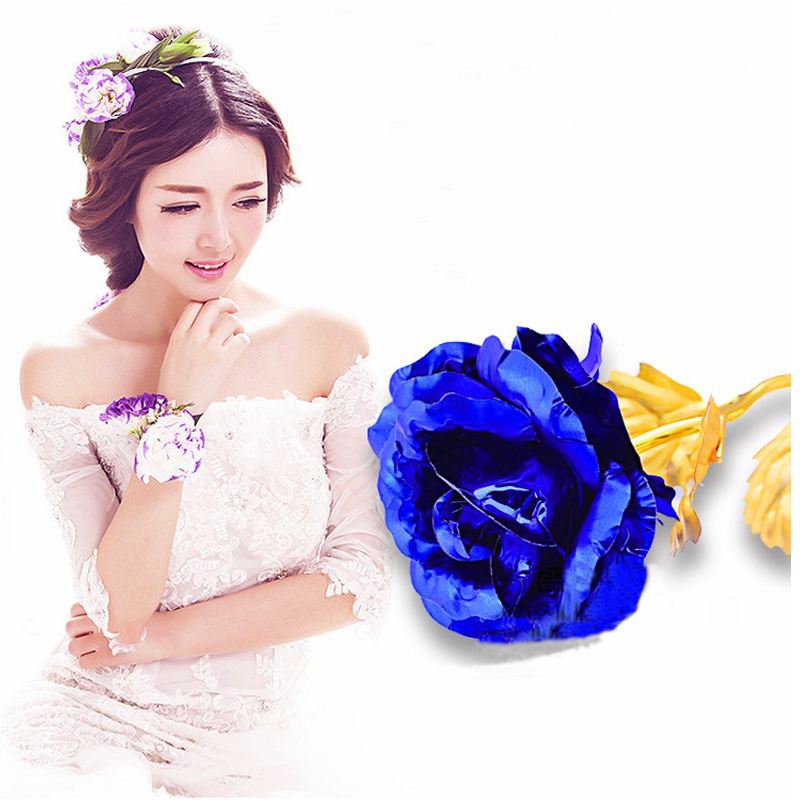 24K Golden Foil Plated Rose Gift Artificial Flowers Romantic Forever Love Valentine's Day Gift Wedding Party Event Supplies(China (Mainland))
