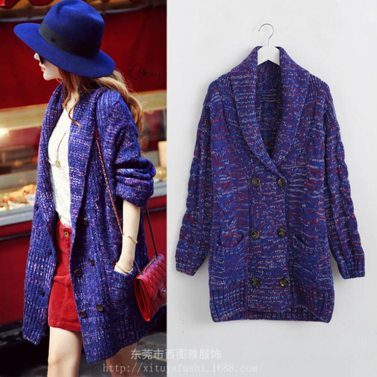 Spring and autumn winter sale new thickened Royal Blue twist double-breasted Cardigan Sweater Women's clothing(China (Mainland))