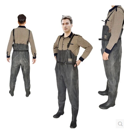 Free shipping canvas sided thick rubber waders bust nets for Waterproof fishing clothing
