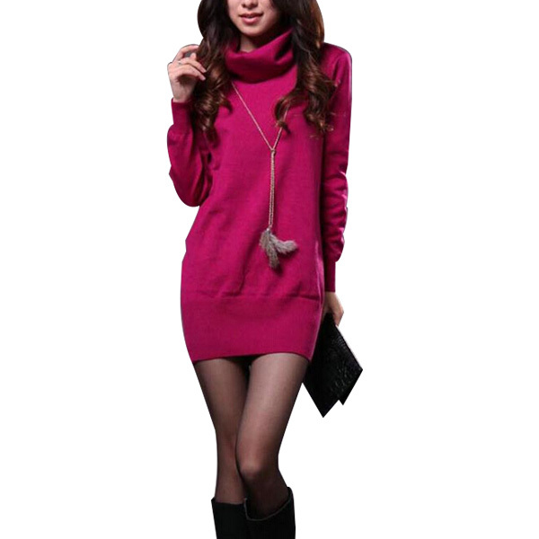 Female Fall Winter Turtleneck Cashmere Sweater Dress Korean Pull Women Long Sleeve Women's Pullover Sweaters Casual Jumper B135(China (Mainland))