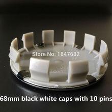 High quality 4pcs/lot 68mm Black White logo car emblem Wheel Center Hub cap Wheel badge covers with 10 pins Auto accessories(China (Mainland))