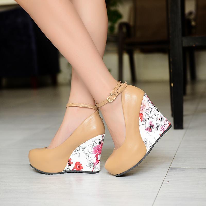 Fashion Ankle Strap 2016 High Wedges Platform Summer Pumps For Women Casual Elegant Flower Print Wedges Platform Shoes mary jane
