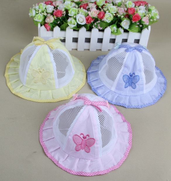 1 package three children basin cap baby summer breathable mesh hats baby sun hat small butterfly(China (Mainland))