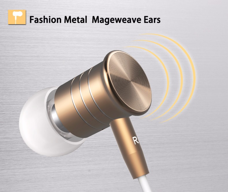 Langsdom I8 Magnet Metal Sports Earphones Gold Plated Housing Earbud Stereo Bass Headset With Mic for iPhone Samsung mp3 mp4
