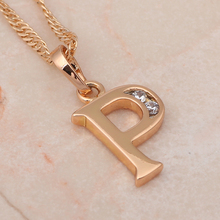 Hotselling in young people  Letter 26  Letter P Style 18k k gold plated crystal necklaces & pendants fashion jewelry LN148(China (Mainland))