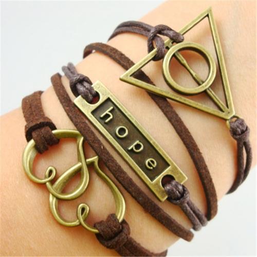 2pcs Leather Rope Heart Charm Hope Geometric Handmade Punk Bracelet Vintage Bangles Jewelry Valentina Gift Accessary Items(China (Mainland))