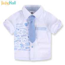 2016 Summer Cute Cartoon Boys Short Shirts Hot Selling Fashion Tie Shirts High Quality 100% Cotton Shirt For 2-7T Kids FXB036