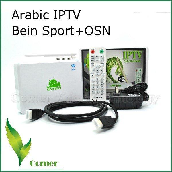 5 pcs/lot Hot selling Arabic IPTV Box Set Top Box with 550 Arabic channels Box, Andriod IPTV Box with beIN sport channel(China (Mainland))