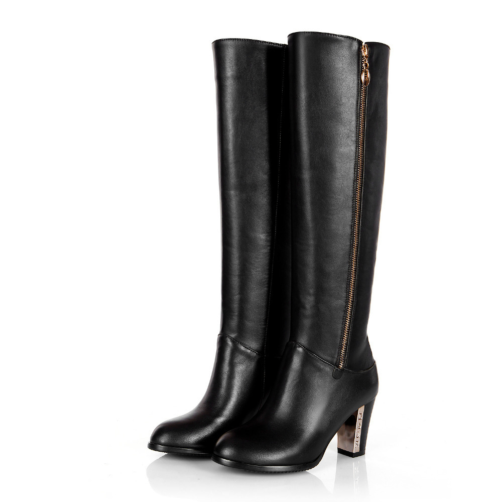 2015 new custom made s leather zip boots knee