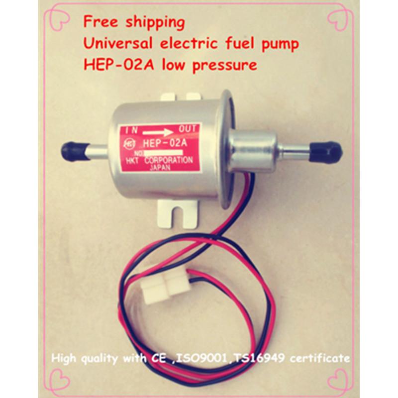 Free shipping diesel petrol gasoline 12V electric fuel pump HEP-02A low pressure fuel pump for carburetor, motorcycle , ATV(China (Mainland))