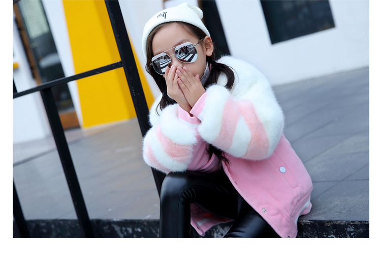 Скидки на Детская Одежда Новые Зимние Девушки Утолщенной Розовый Имитация Кролика Шуба Толщиной Вне Дети Пальто Куртки Одежда Розовый