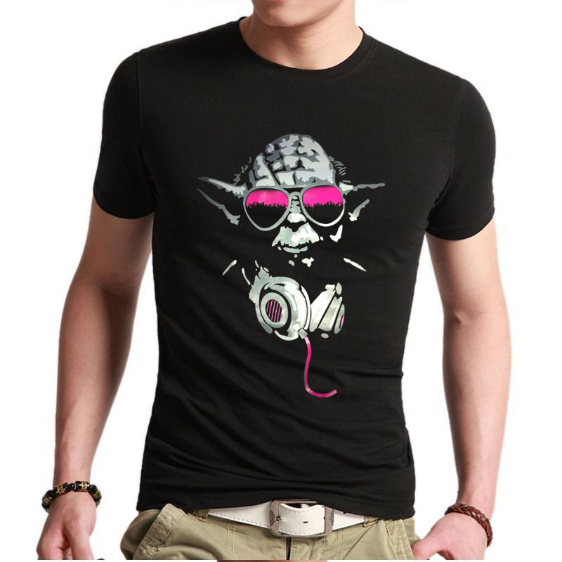 Great gift Mens Custom t shirts Yoda Cool Dj Hip Hop Star Wars funny t-shirts Print Fashion Casual Cotton Clothing Free Shipping(China (Mainland))
