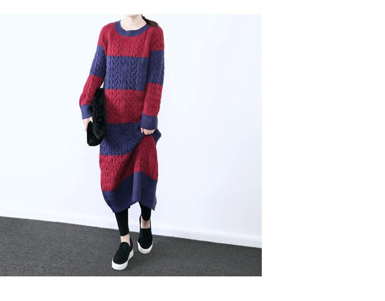 [XITAO] 2016 new korea fashion autumn winter women O-Neck Long knitting loose striped pullover long sweater BD004