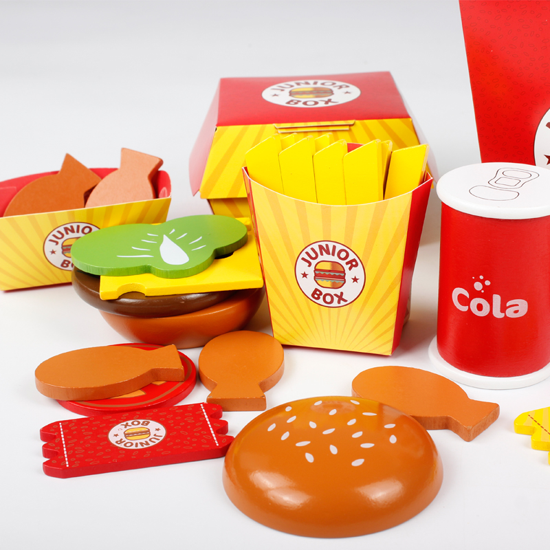Baby Wooden Early Educational Toys Simulation Hamburg Bucket Chips Coke Family Pretend Play Kitchen Toys Gift for Childrens Day(China (Mainland))
