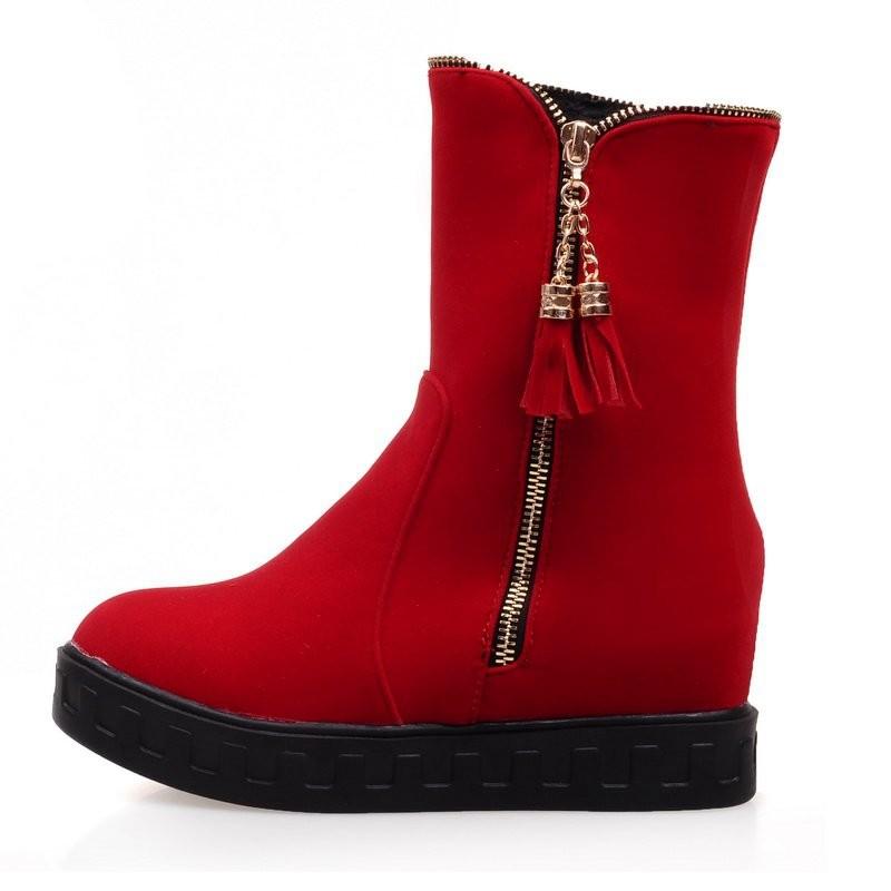 ซื้อ พลัสSize34-43 2016ใหม่ผู้หญิงรองเท้าพู่รองเท้าออกแบบสีดำฤดูใบไม้ผลิสีฟ้าแพลตฟอร์มขี่สตรีรองเท้าหิมะSBT1696