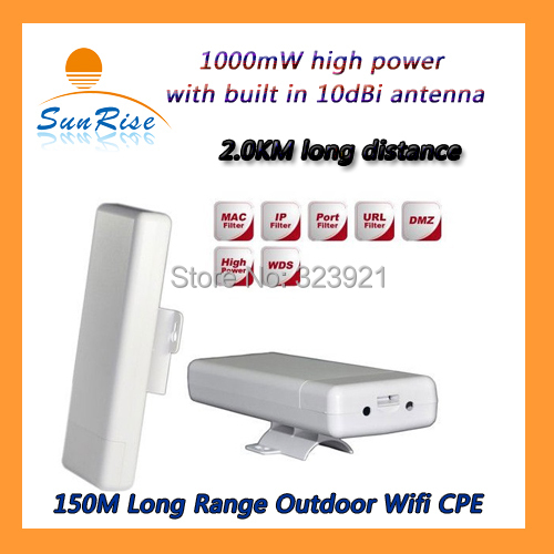 150Mbps 2.4Ghz High power Wireless Router Outdoor CPE Wireless Access Point 2KM Wifi Range Waterproof Wifi Bridge(China (Mainland))