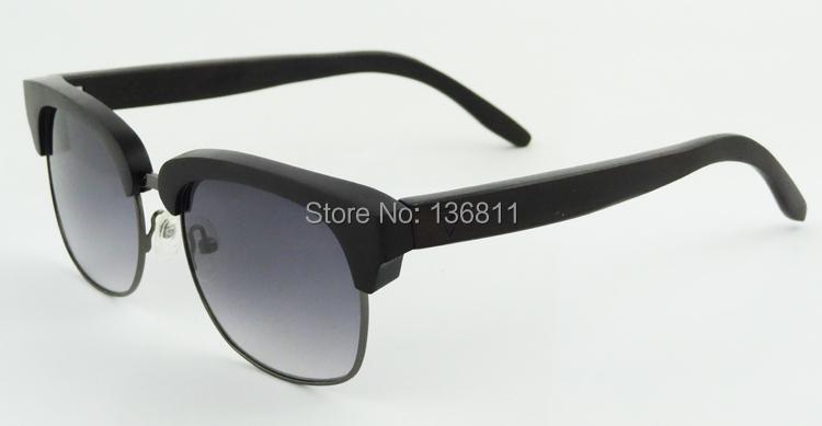 Handmade Custom Logo Sunglasses Luxury Ebony Wood Sunglasses Full Metal & Half-riM Wooden Oculos Fashion Mens Eyewear 6151(China (Mainland))