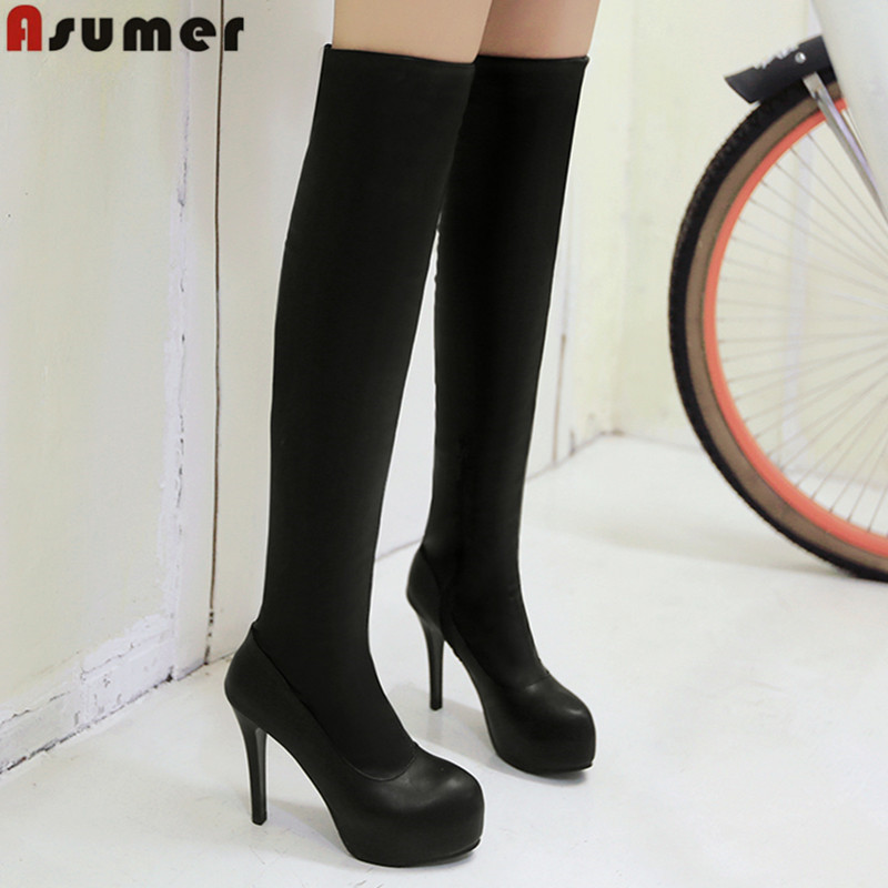 2016 plus size 33-43 sexy women shoes round toe stiletto high heels over the knee boots black platform winter boots <br><br>Aliexpress