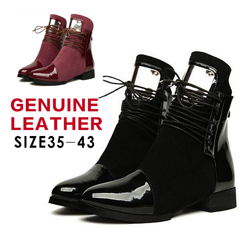 Size 43 Genuine Leather Boots 2015 Fashion Platform Women Autumn Ankle Boots Fur Inside Flat shoes Woman Lace up Motorcycle Boot(China (Mainland))
