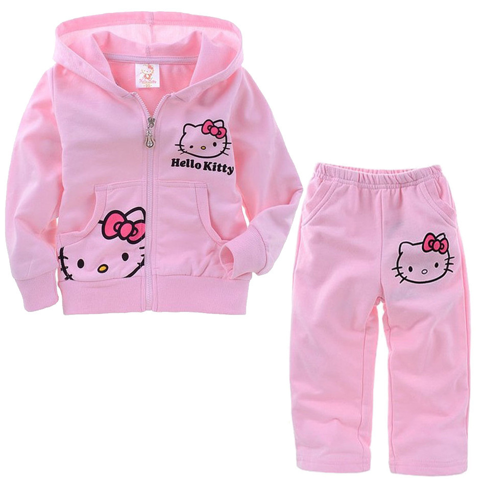 New Cotton Autumn clothing set girl sport suit set kids girl cothes Hello Kitty Toddler girl clothing(China (Mainland))