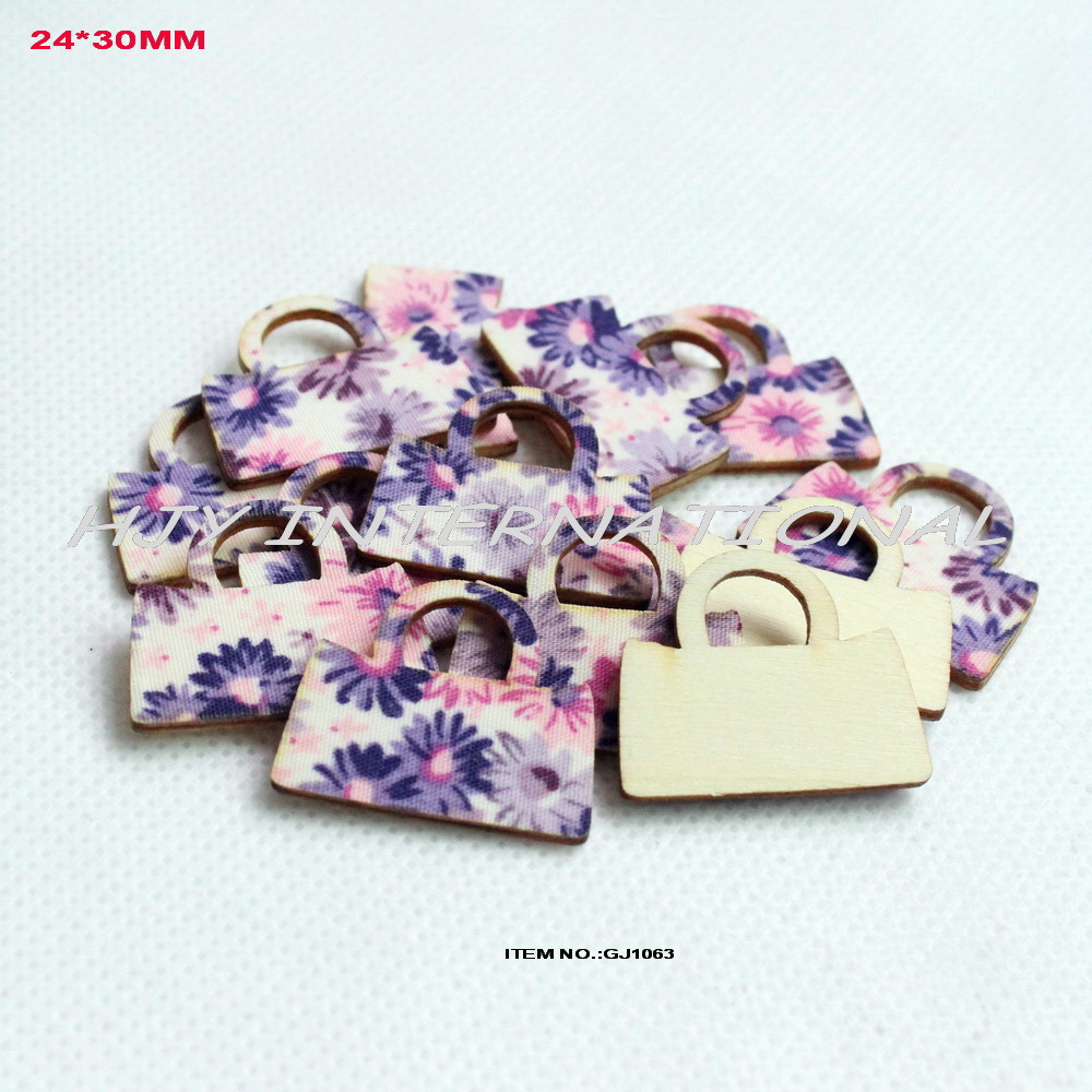 (120pcs/lot) 24mmx 30mm Fabric textile topper plywood back fashion lady handbag wood women bag crafts home decor - GJ1063(China (Mainland))