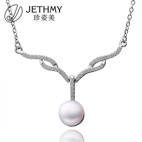 N006 Fashion Women Accessories Necklace Wholesale 18K Gold Austrian Crystal Necklace Pearl Jewlery Vintage Statement collar