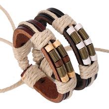National wind Retro Adjustable Leather Men Bracelet Bronze spring wooden beads women Bracelets 2016 Jewelry wholesale SLI000083(China (Mainland))