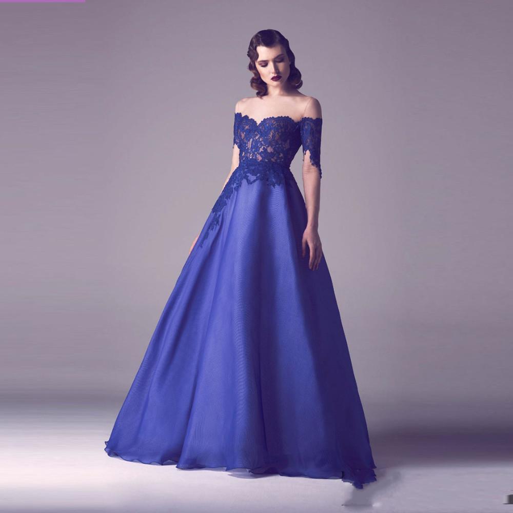 Elegante azul Real Vestidos de Noche 2016 Del Hombro Blusa de Encaje Sin Espalda Una Línea