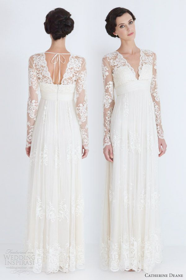 Modest v neck straight sheer lace long sleeves wedding for Long straight wedding dresses