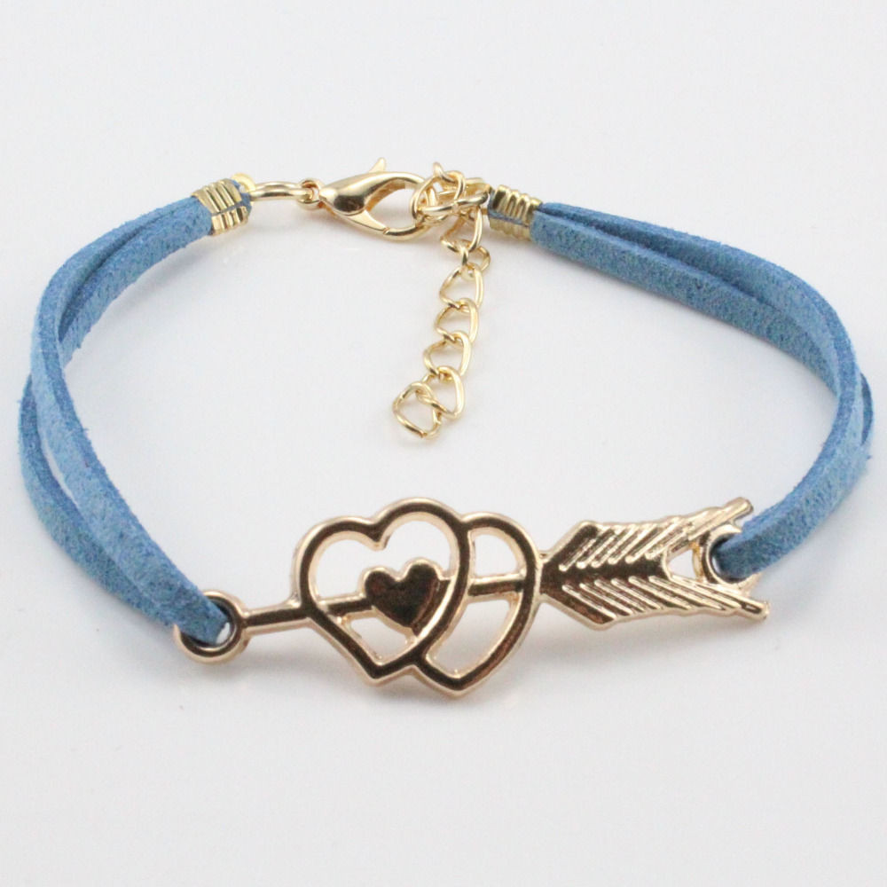 mix colors hot sale arrow heart lovers bracelet leather jewelry for lovers free shipping(China (Mainland))