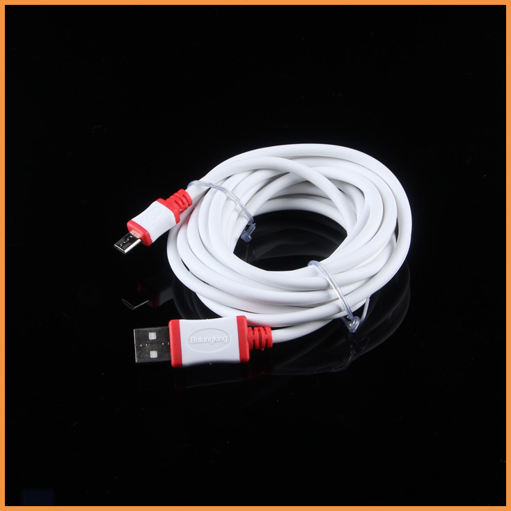Free Shipping White High quality 3M Charger cable Micro USB Data Sync Cable for Samsung Bold 9900 9930 Torch 9850 9860 9810(China (Mainland))