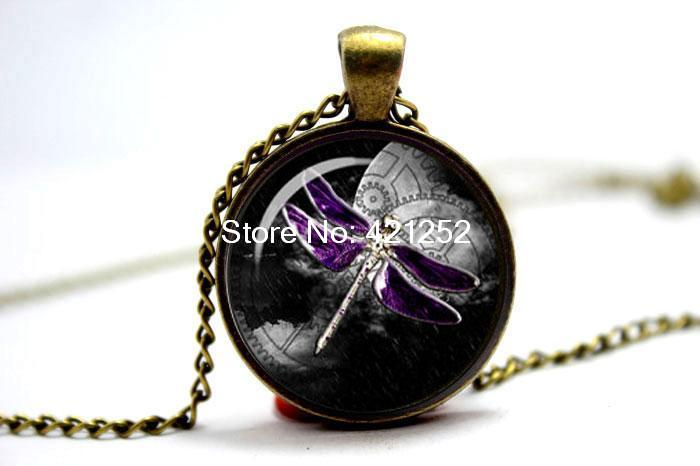 10pcs/lot Steampunk dragon fly gears on moon moon with clock gears purple dragonfly necklace Glass Photo Cabochon Necklace(China (Mainland))
