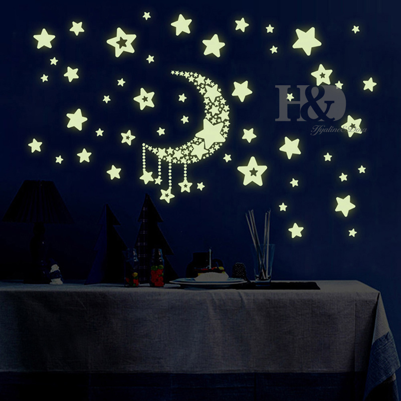 kids bedroom beautiful fluorescent glow in the dark stars 100 pcs wall stickers home decor glow in the dark star