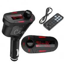 New 3.5mm Car Kit Auto Audio Stereo Socket In-Car Red LCD FM Transmitter Radio Modulator +Remote Control With USB MMC TF Slot(China (Mainland))