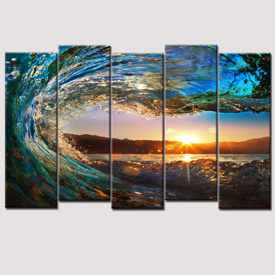 hot sell 5 piece large canvas wall art huge wave painting. Black Bedroom Furniture Sets. Home Design Ideas