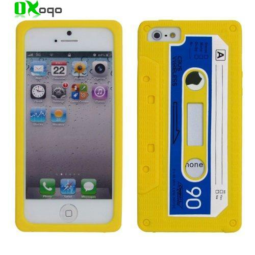 Oxoqo Yellow Soft Silicone Cassette Tape Case Cover for iphone5 5S(China (Mainland))
