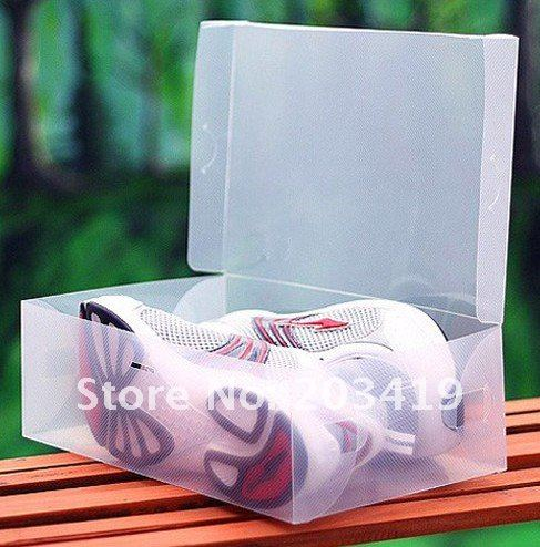 Transparent male man Stackable Crystal Clear Plastic Shoe Storage Boxes case organizer clear white color wholesale(China (Mainland))