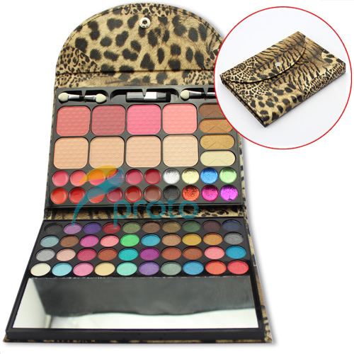 Professional Makeup Set 52 Color Eyeshadow+12 Color Lipstick+4 Color Blusher+4 Color Concealor with Leopard Case SKU:M0221