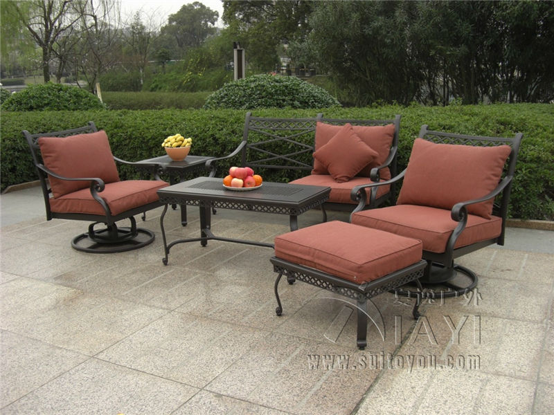 6-piece cast aluminum patio furniture Outdoor furniture sofa set transport  by sea(China - Compare Prices On Cast Aluminum Patio Furniture- Online Shopping