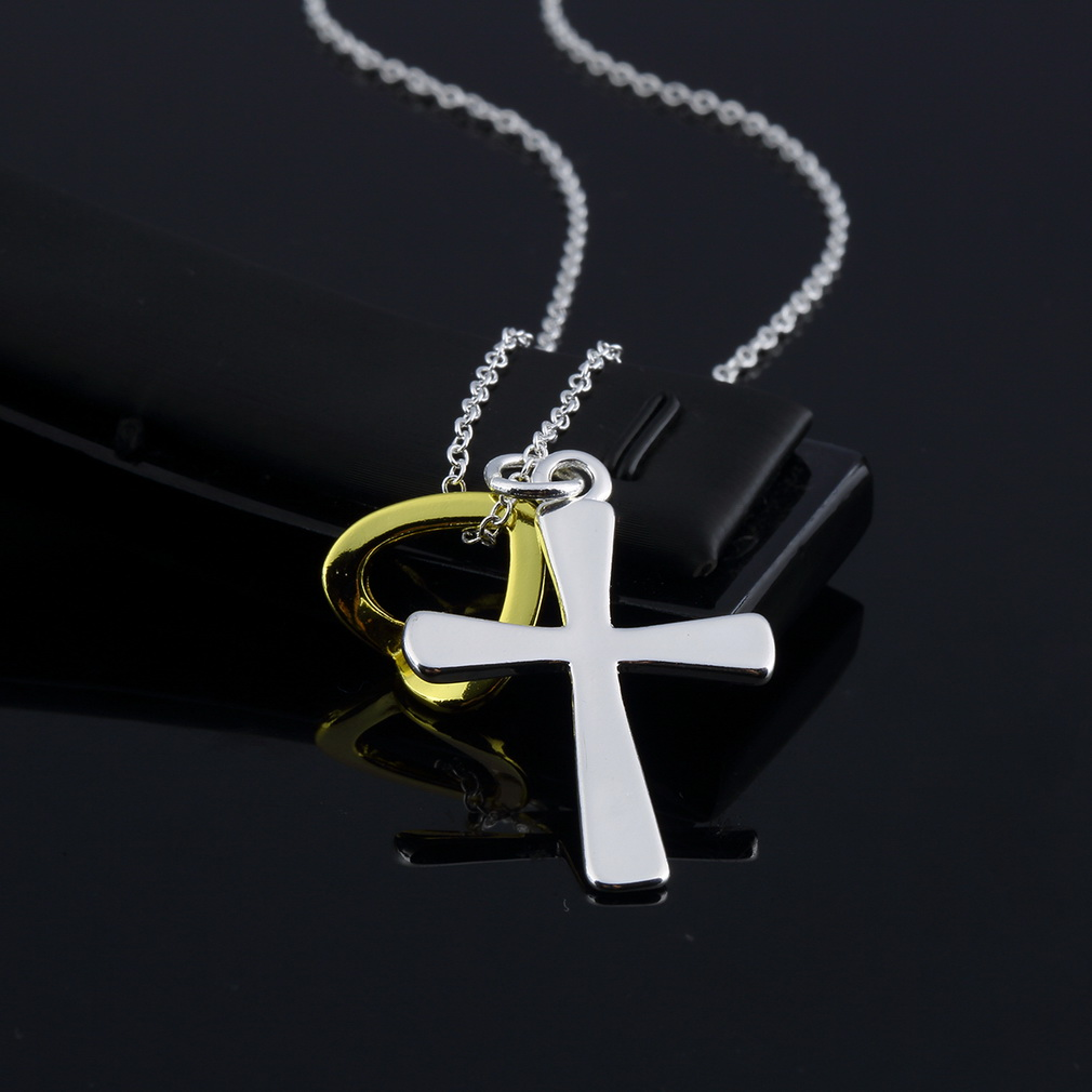 2015 Hot men necklace Wholesale Free shipping gold necklace top quality necklace Cross pendant Cool Men