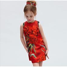 2016 new children's clothing girls carnations jacquard sleeveless vest dress retro classic red and black dresses(China (Mainland))