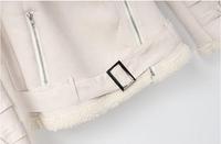 Зимняя замши faux женщин пальто лацкан молния шерсти с длинными рукавами пальто ms хлопка куртка s-xl