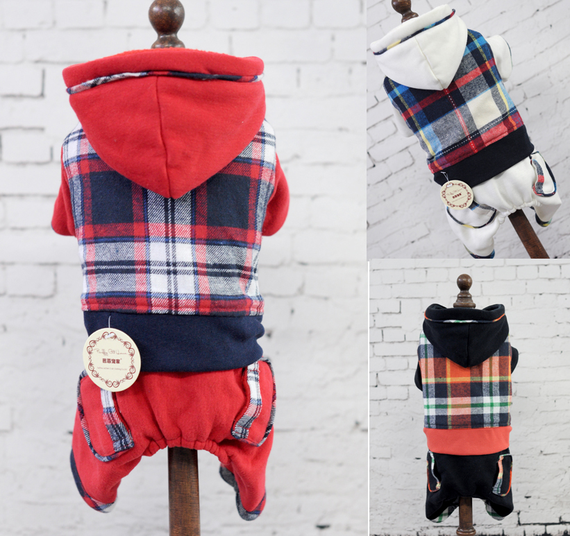 Four Legs Plaid Hooded Pet Dogs Winter Coat Free Shipping Dogs Clothes new clothing for dog(China (Mainland))
