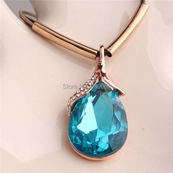 Classic Hot Fashion 18K Gold Plated Water Drop Imitation Gem Pendant Necklace Charms Women Lady Party Gift Jewelry - Hawaii Arts store