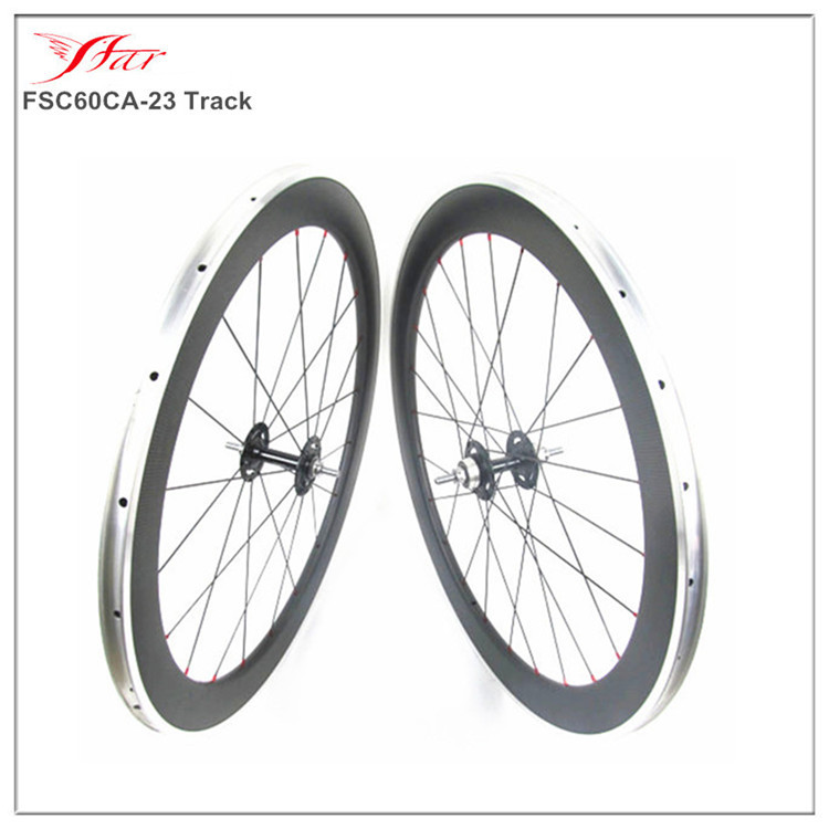 Track bike wheelset, 60mm clincher track carbon wheels, carbon fixed gear bike wheel alloy brake surface(China (Mainland))