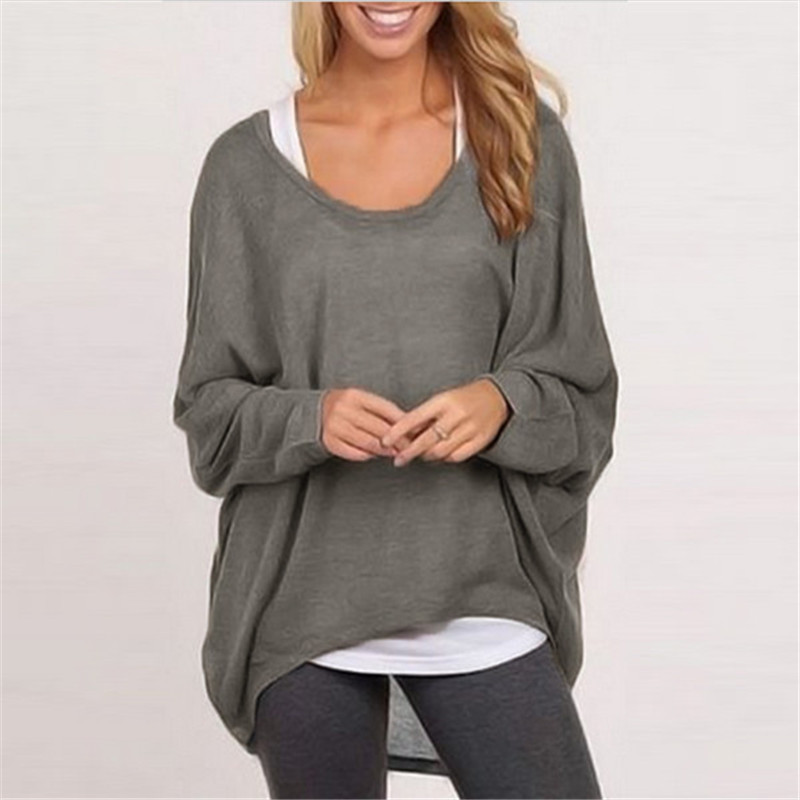 Fashion spring autumn women blouse batwing long sleeve for Long sweaters and shirts