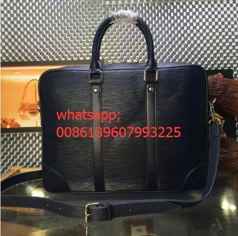Brand Mens Business Real EPI Leather Document bag Top Grade Quality Briefcase porte document voyage bag M41142 mens shoulder bag(China (Mainland))