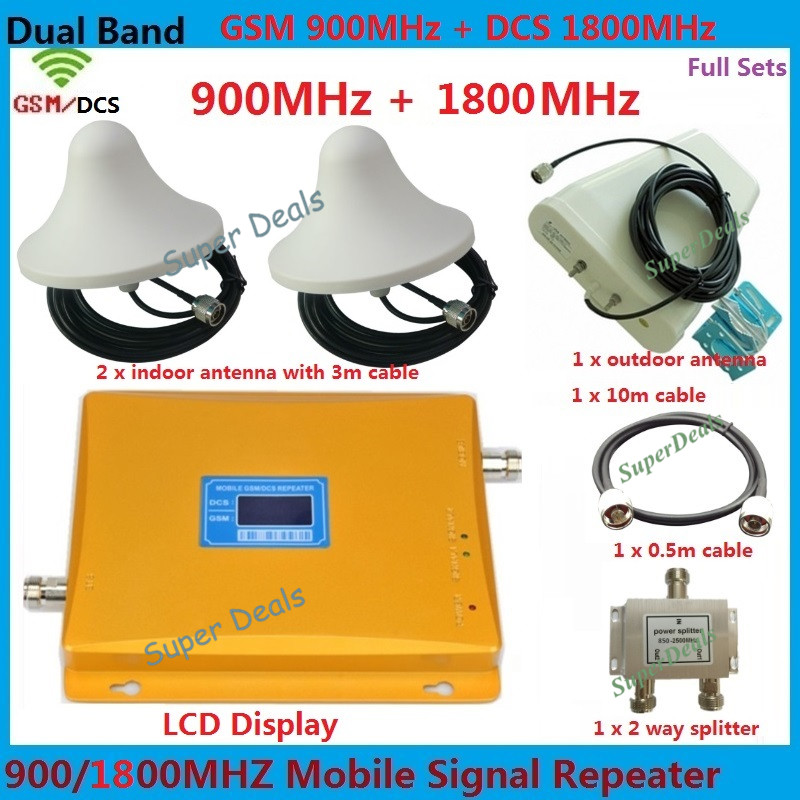 LCD Display GSM Repeater 1800 900 , GSM 4G LTE FDD Dual Band Repeater 65dB GSM DCS Cellular amplifier Cell Phone Signal Booster(China (Mainland))