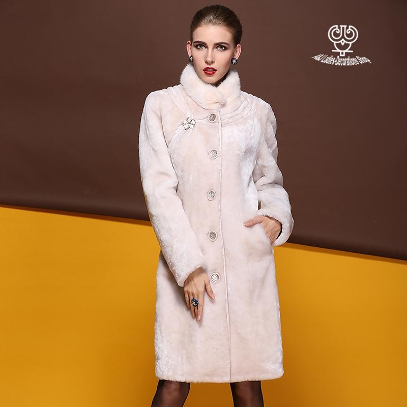 Genuine Sheard Lamb Fur Coat With Mink Fur Collar Parka Vintage Stand Collar Long Sheepskin Overcoat Women AJ-S044-1Одежда и ак�е��уары<br><br><br>Aliexpress
